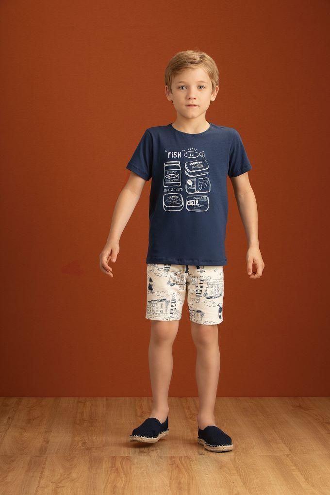 Conjunto Camiseta em cotton e Bermuda em molecotton estampado  Tam 10 anos