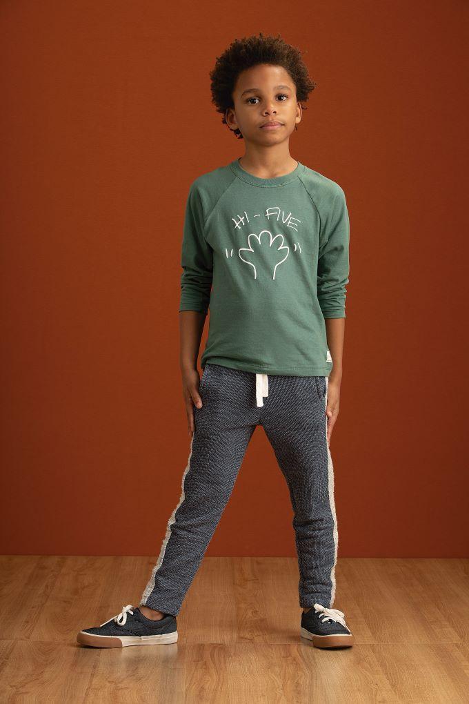 Conjunto Camiseta manga longa e Calça em moletom desagulhado – Tam 04 a 10 anos