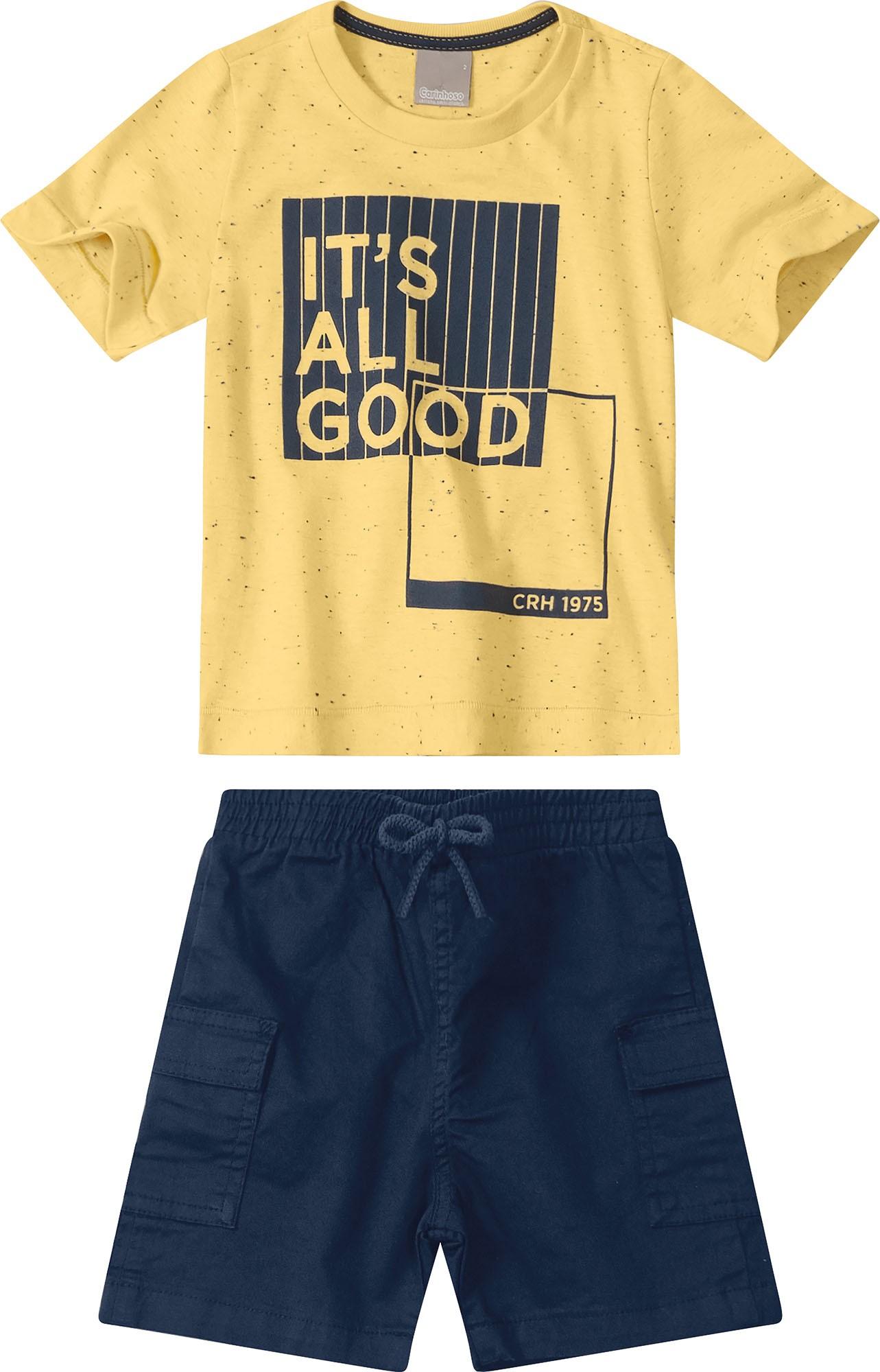 Conjunto Camiseta meia malha Amarela com Bermuda sarja Azul Marinho - Tam 1 a 4 anos
