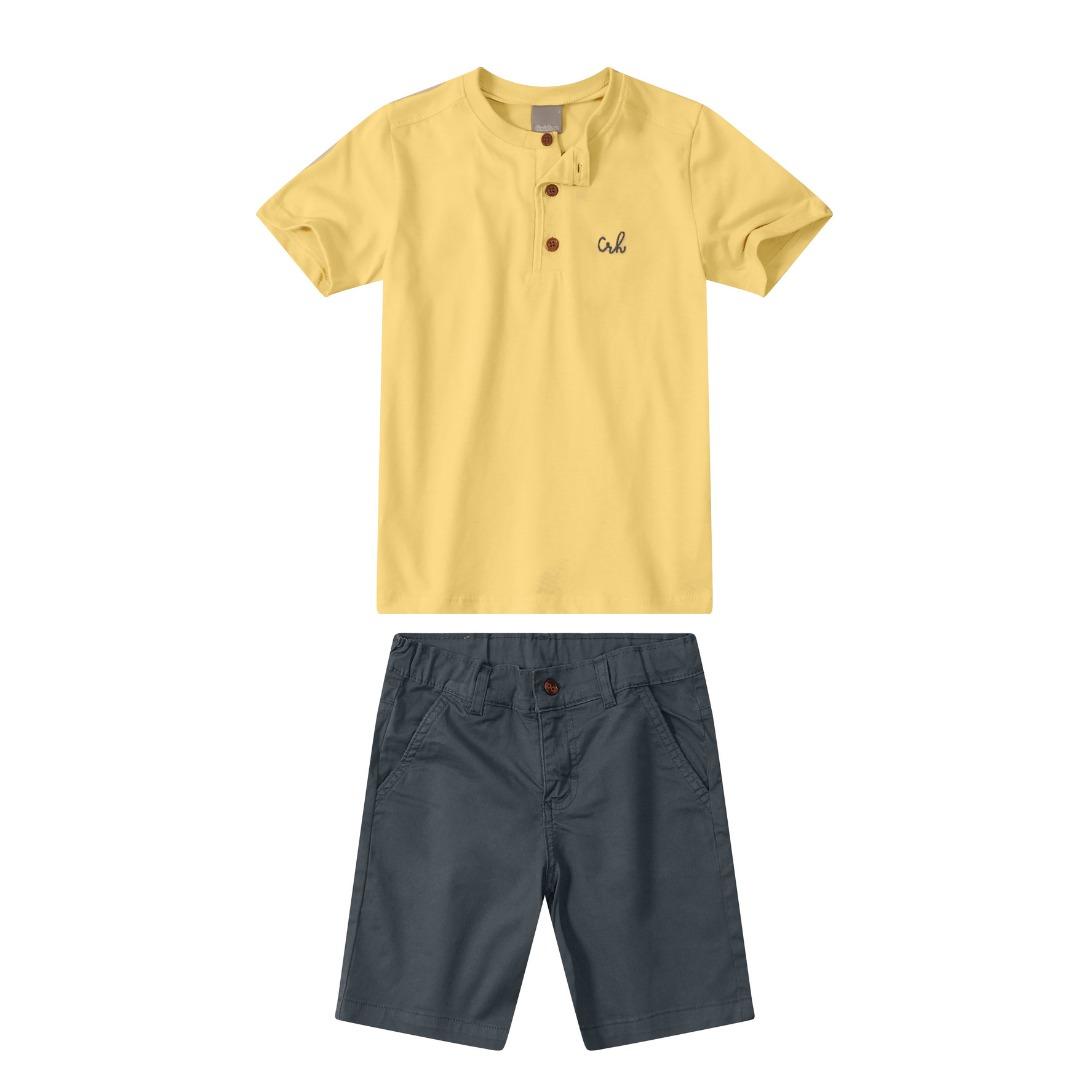 Conjunto Camiseta Meia malha Amarela com Bermuda sarja Cinza - Tam 08 e 10 anos