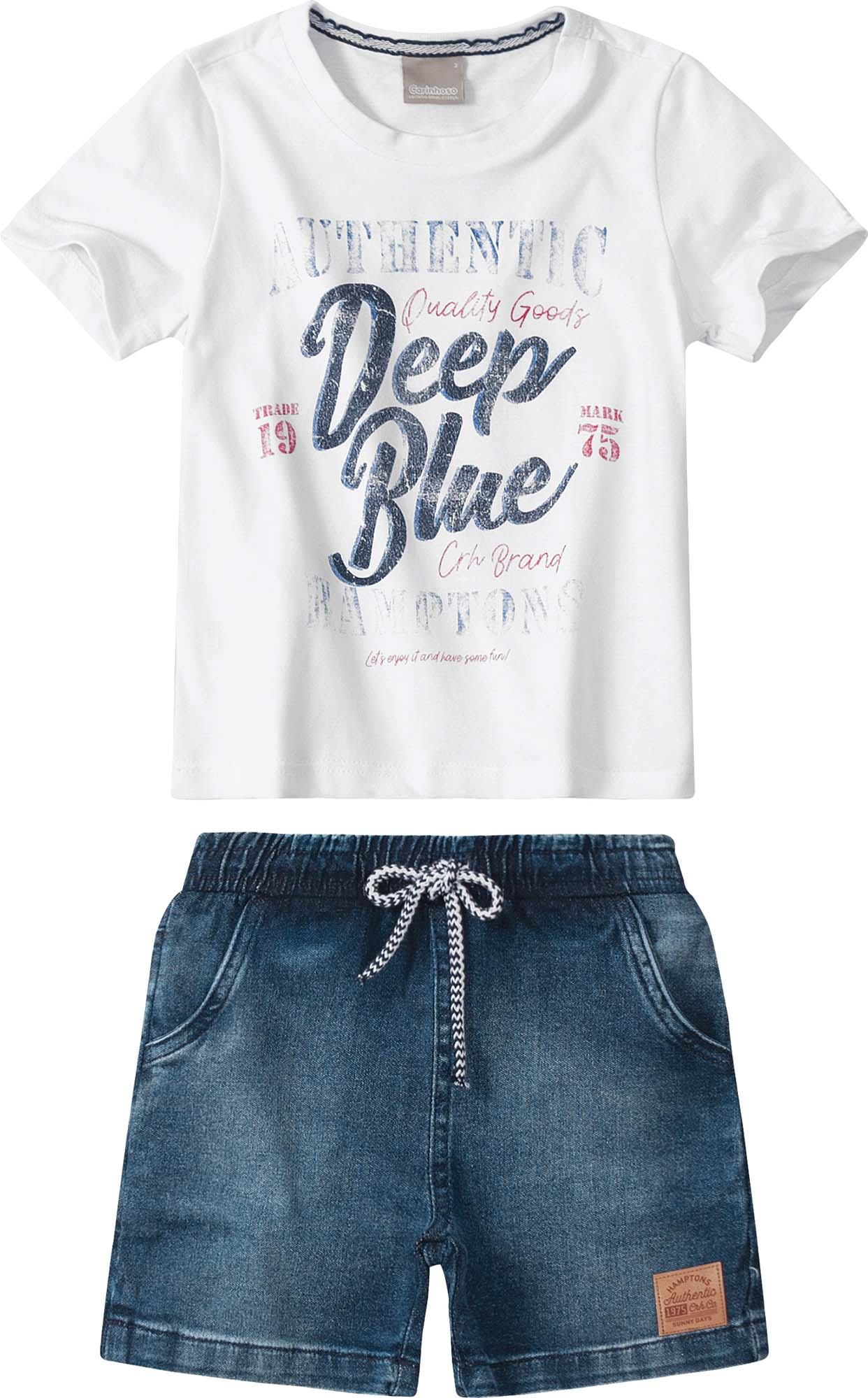 Conjunto Camiseta meia malha Branca com Bermuda Azul Jeans - Tam 1 a 4 anos