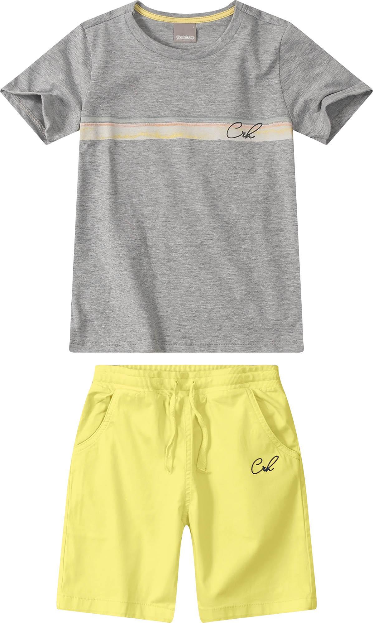 Conjunto Camiseta meia malha cinza com Bermuda sarja Amarela - Tam 06 a 10 anos