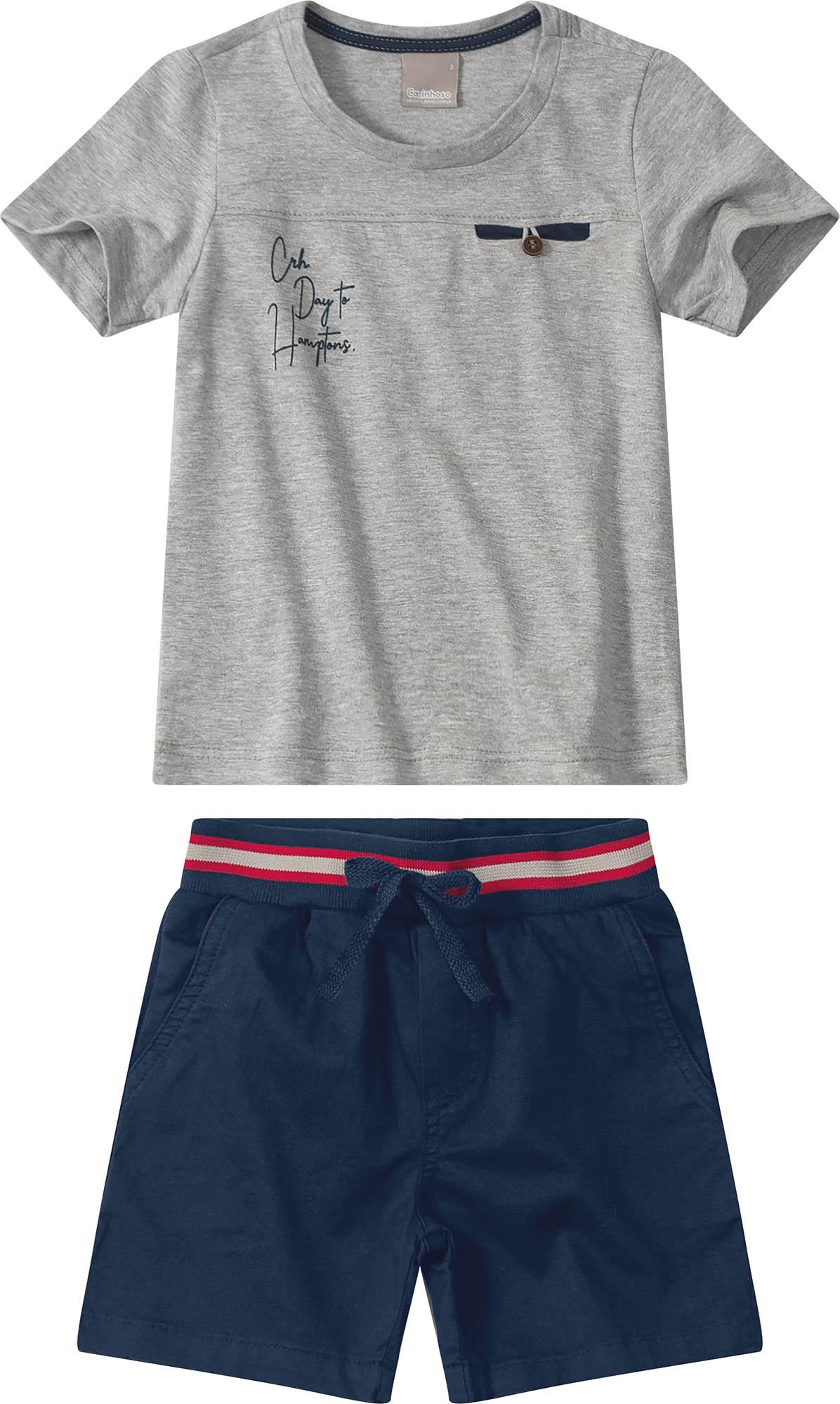 Conjunto Camiseta meia malha Cinza com Bermuda sarja Azul Marinho - Tam 04 a 08 anos