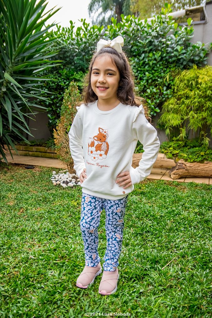 Conjunto Casaco e Calça flores - Tam 4 a 8 anos