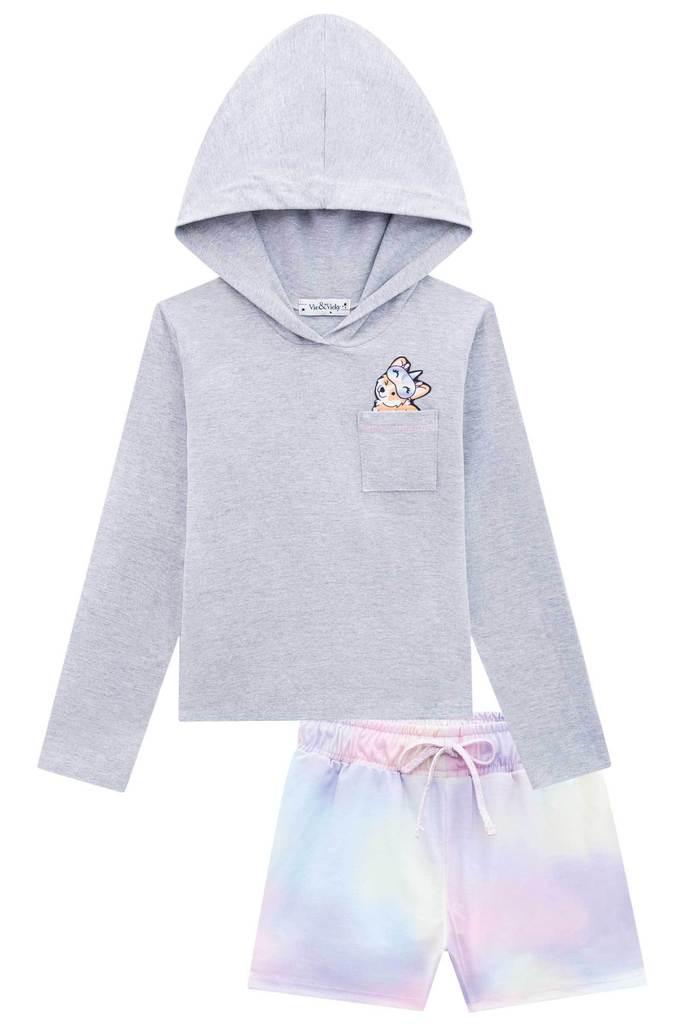Conjunto de Pijama Blusa em Cotton e Shorts em Poli Light - Tam 14 e 16 anos