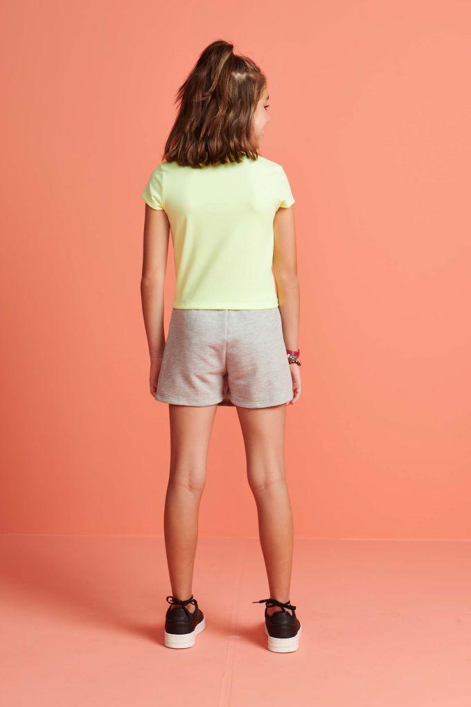 Conjunto infantil blusa boxy manga curta e saia em molecotton - Tam 14 a 16 anos