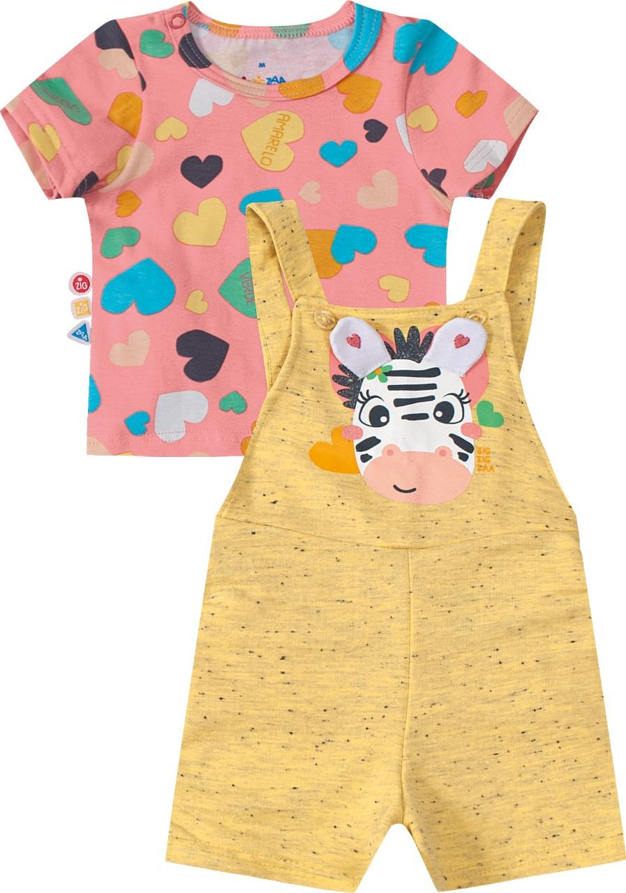 Conjunto infantil blusa manga curta e jardineira Zig Zig Zag- Tam 1 a 3 anos