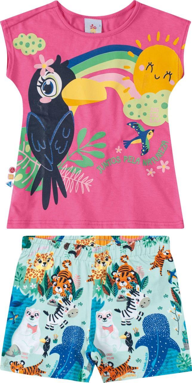 Conjunto Infantil blusa manga curta estampado em algodão- Tam 2 a 6 anos