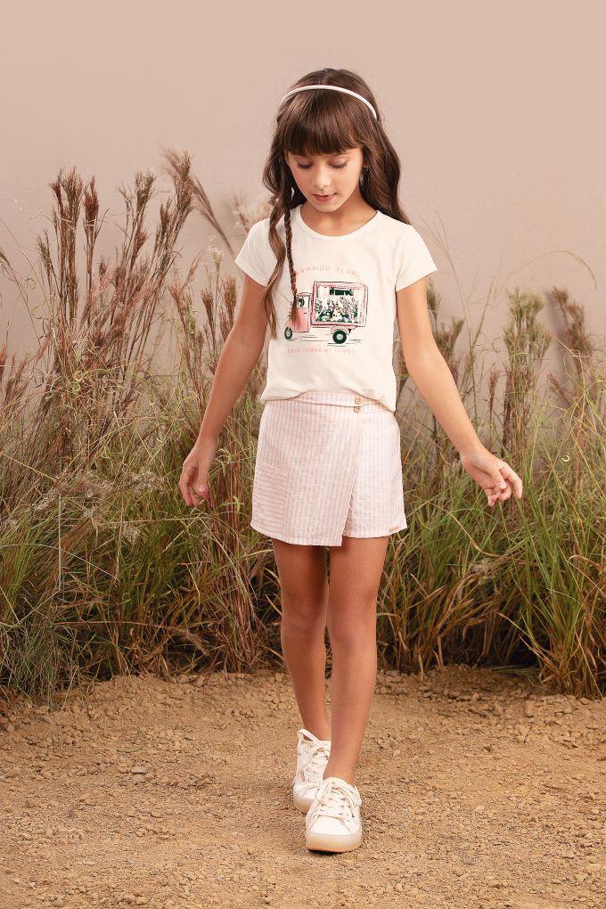 Conjunto Infantil em cotton e short listrado - Tam 6 a 8 anos