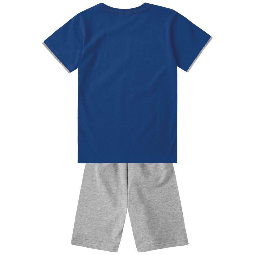 Conjunto Infantil masculina azul em algodão - Tam 12 a16 anos