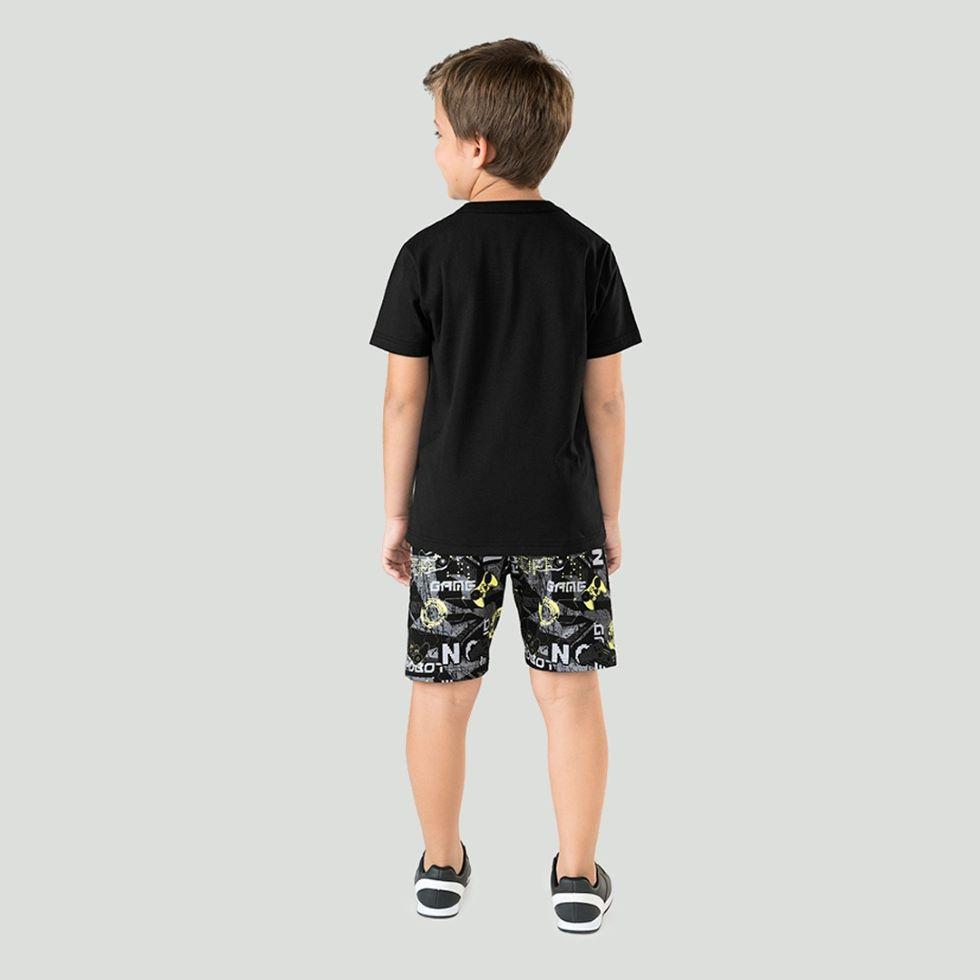 Conjunto Infantil masculina preto em algodão- Tam 12 a16 anos