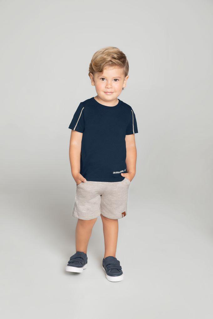Conjunto Infantil masculino azul marinho e cinza em algodão - Tam 4 a 10 anos