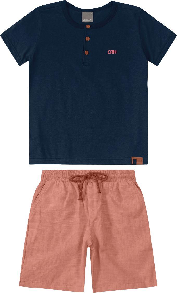 Conjunto Infantil masculino azul marinho e rosa claro em algodão - Tam 12 a 16 anos