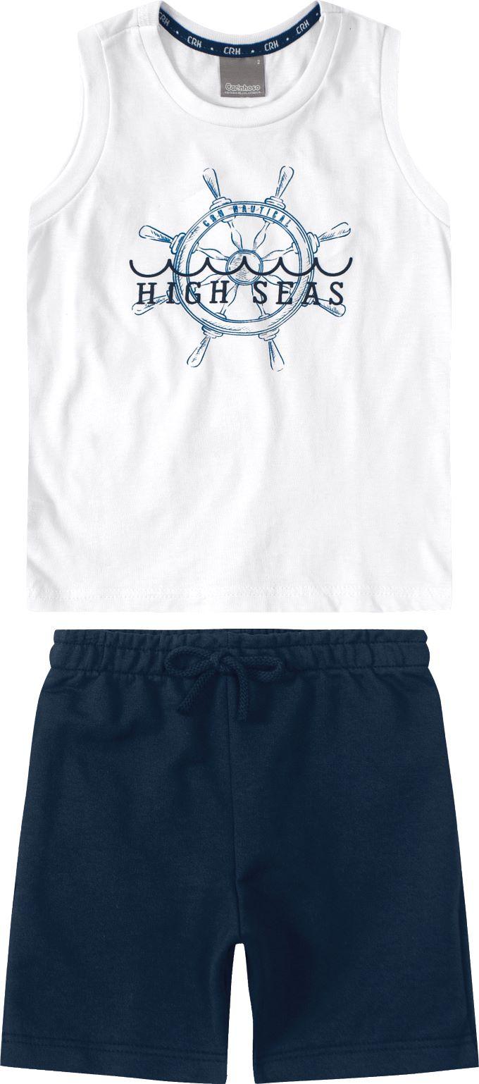 Conjunto Infantil masculino branco em algodão - Tam 4 a 8 anos