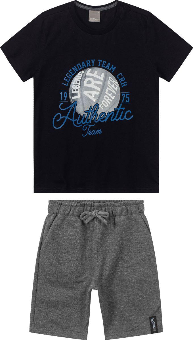 Conjunto infantil masculino camiseta authentic e bermuda em molecotton  - Tam 10 a 16 anos
