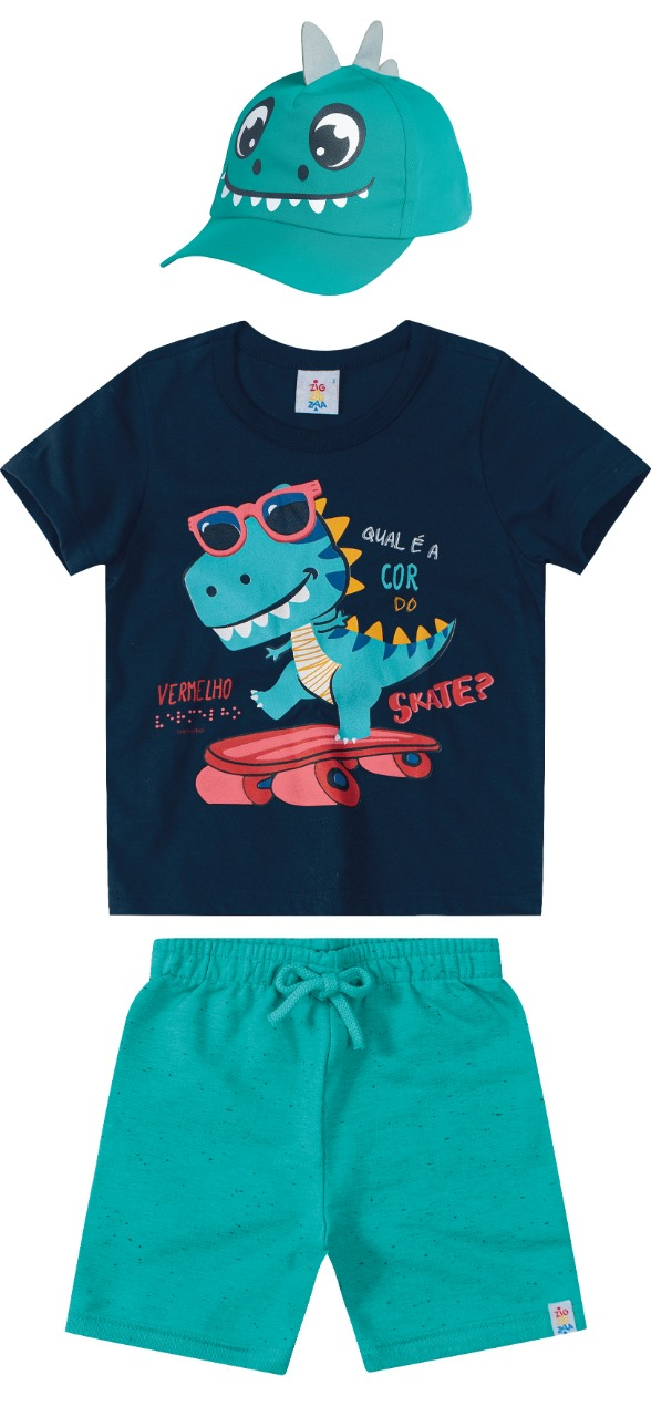 Conjunto infantil masculino Camiseta bermuda e boné interativo - Tam 4 e 6 anos