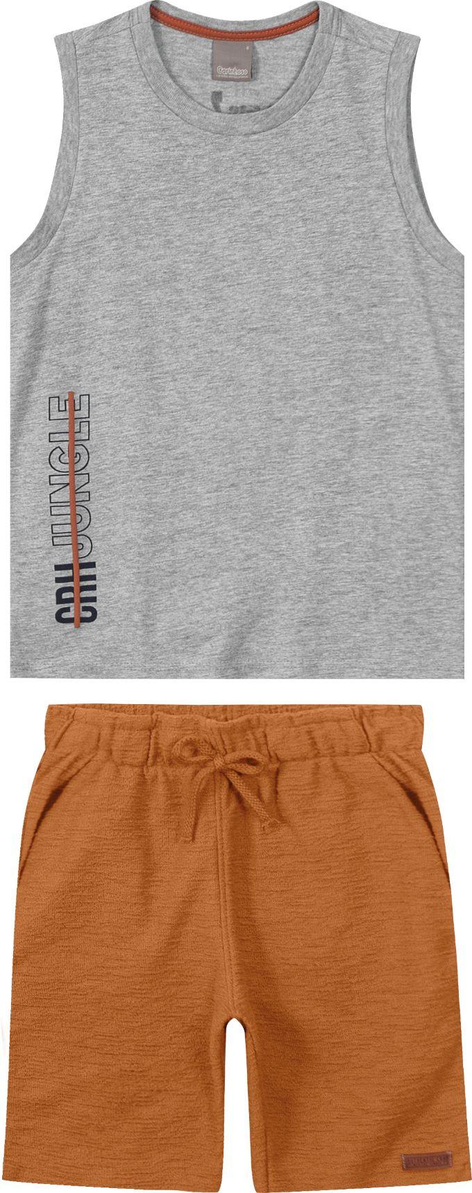 Conjunto infantil masculino camiseta regata e bermuda em molecotton  - Tam 6 a 16 anos