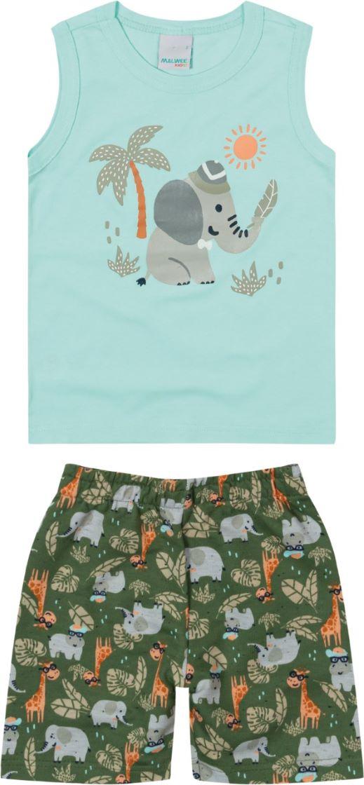 Conjunto infantil masculino camiseta regata em algodão com estampa interativa  Tam  1 a 3 anos