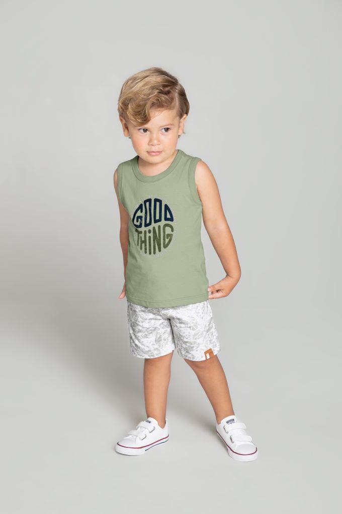 Conjunto Infantil masculino camiseta regata em algodão - Tam 8 a 12 anos