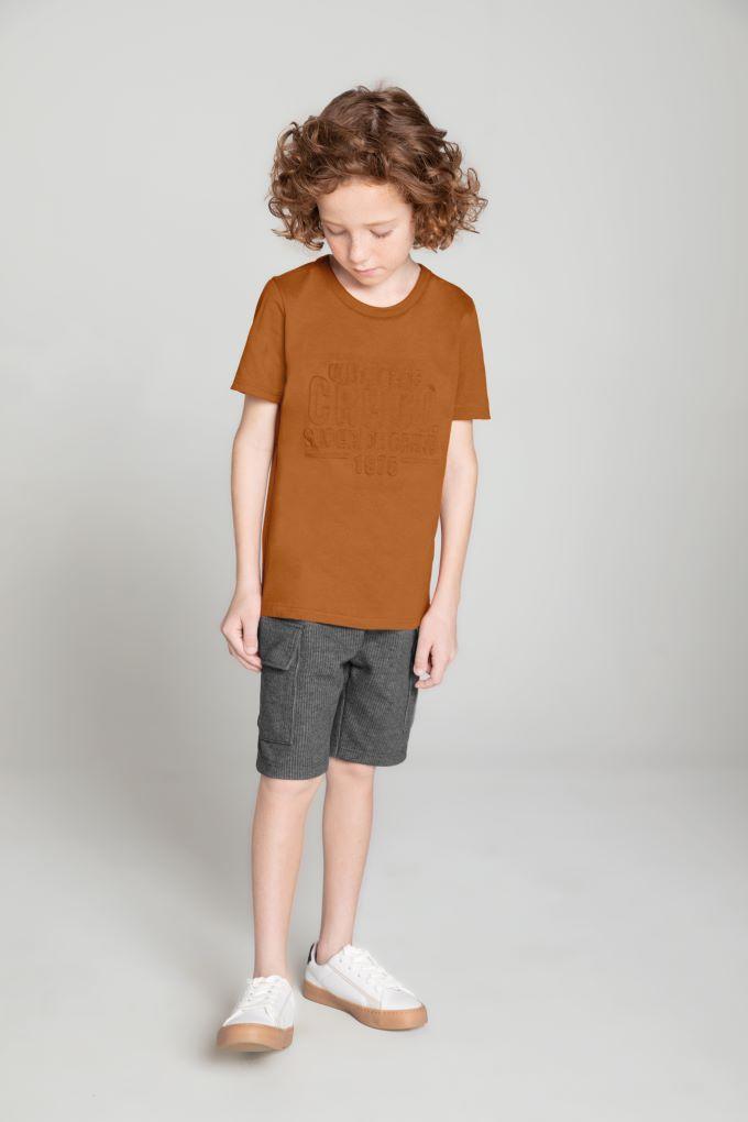 Conjunto Infantil masculino caramelo em algodão - Tam 4 a 10 anos