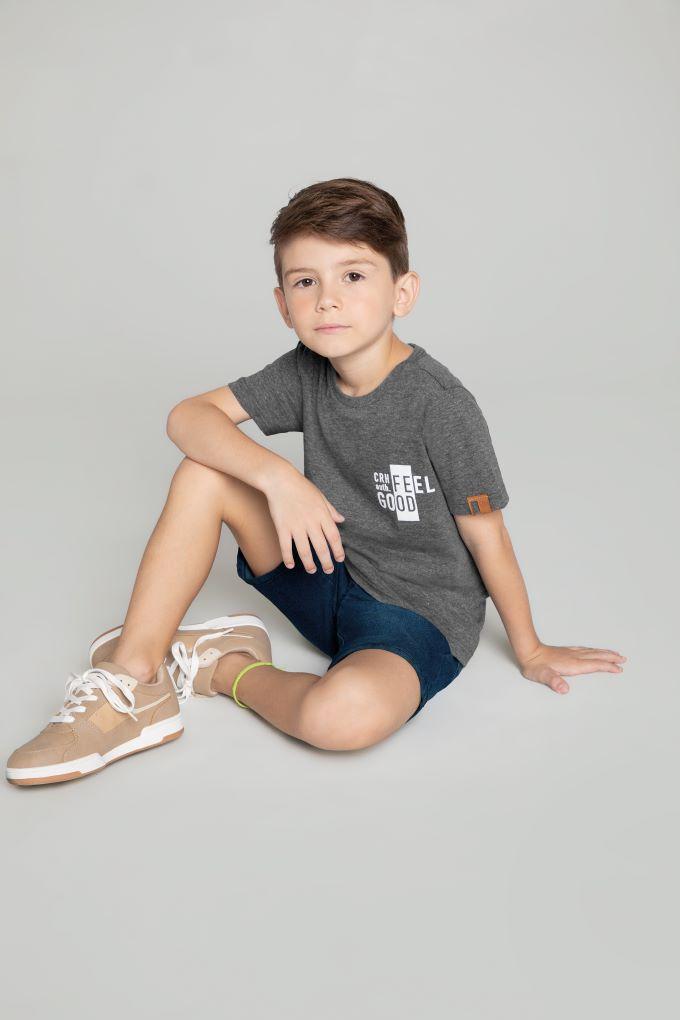 Conjunto Infantil masculino Cinza em algodão - Tam 10 a 16 anos