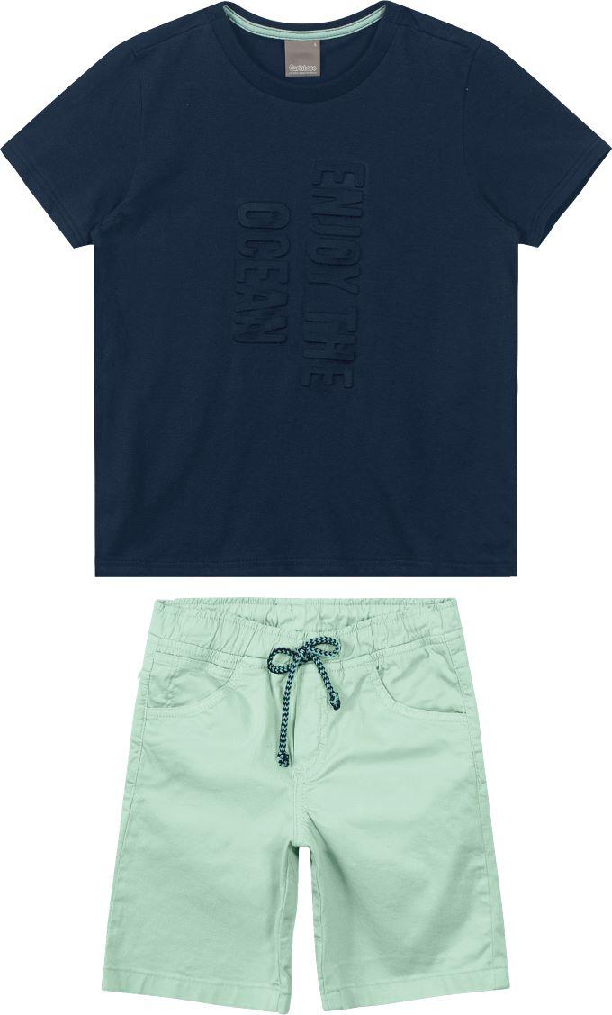 Conjunto infantil masculino com bermuda em sarja azul claro  Tam 10 a 16 anos