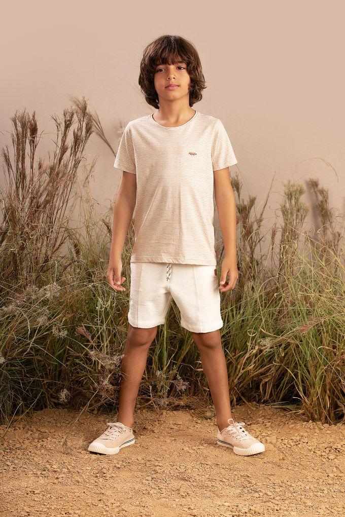 Conjunto Infantil masculino em meia malha com listras eco - Tam 10 a 14 anos