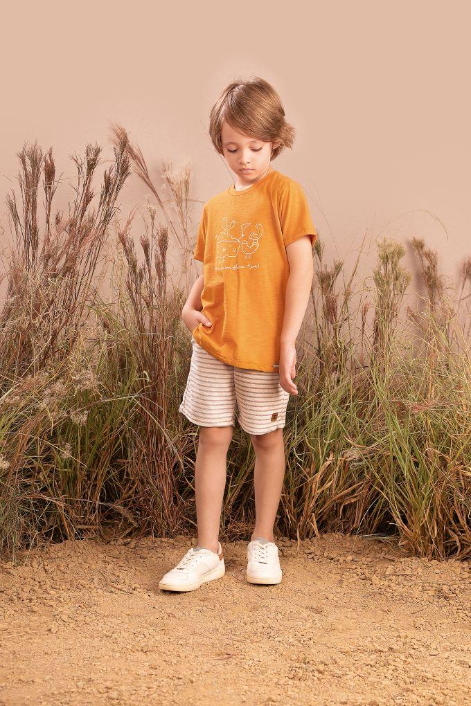 Conjunto Infantil masculino em meia malha e bermuda moletom time eco- Tam 6 a 10 anos