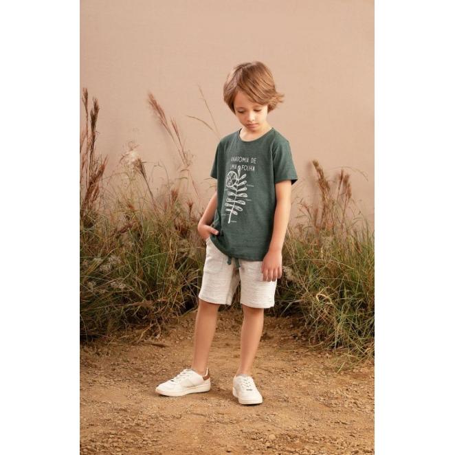 Conjunto Infantil masculino em meia malha e molecottom - Tam 2 a 10 anos