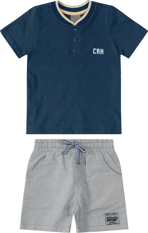 Conjunto Infantil masculino marinho em algodão - Tam 4 a 8 anos