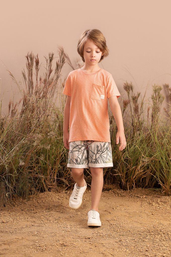 Conjunto Infantil masculino meia malha em algodão estampado - Tam 8 a 14 anos