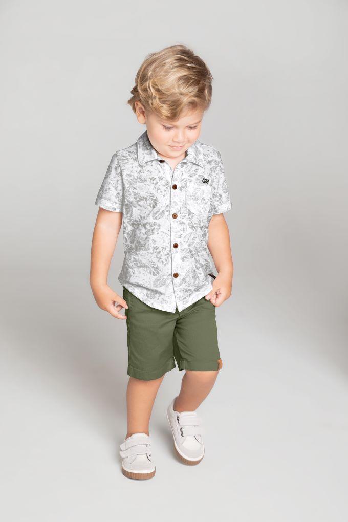 Conjunto Infantil masculino verde em algodão  Tam 6 a 10 anos