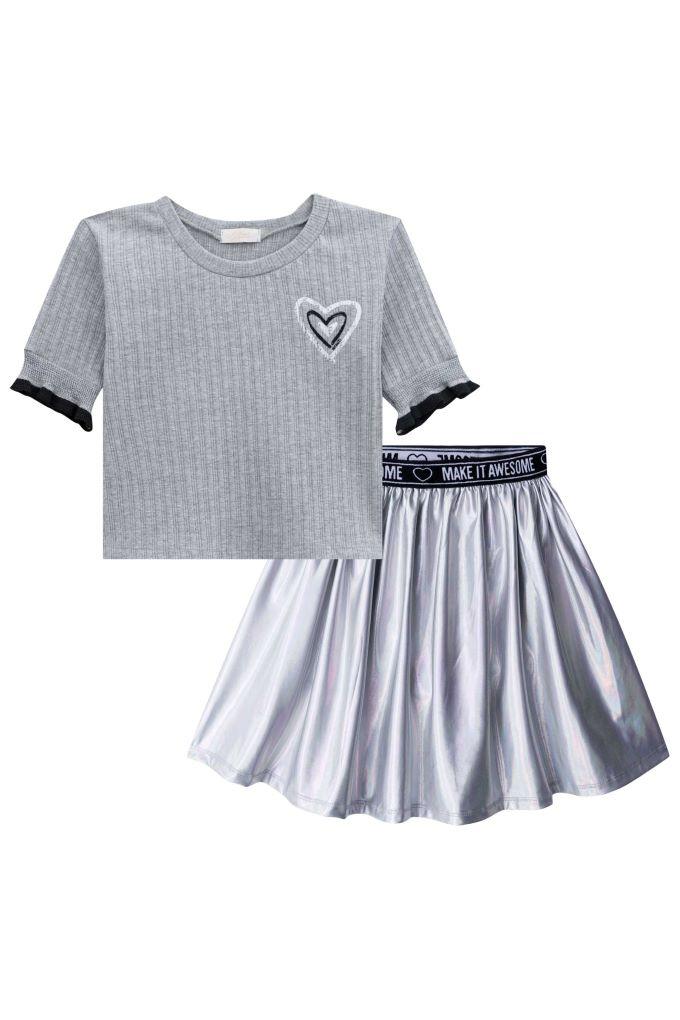 Conjunto infantil menina blusa boxy e saia em cirrê - Tam 6 a 12 anos
