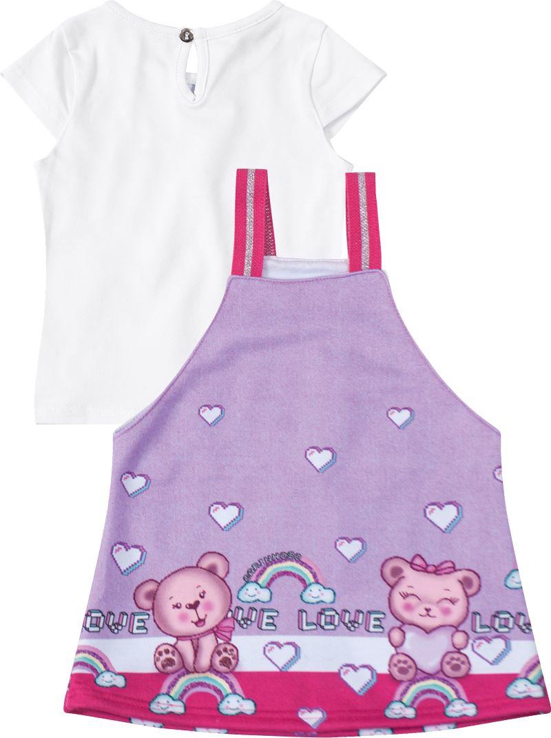 Conjunto Infantil menina blusa e salopete arco-íris   Tam 1 a 3 anos