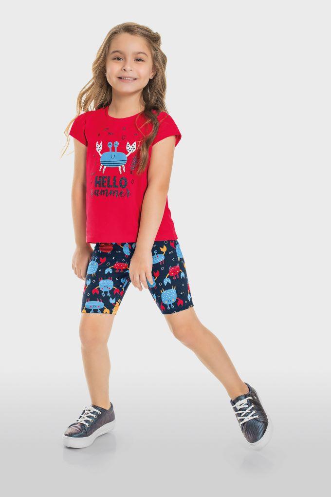 Conjunto Infantil menina blusa manga curta e bermuda ciclista em algodão - Tam 4 a 8 anos