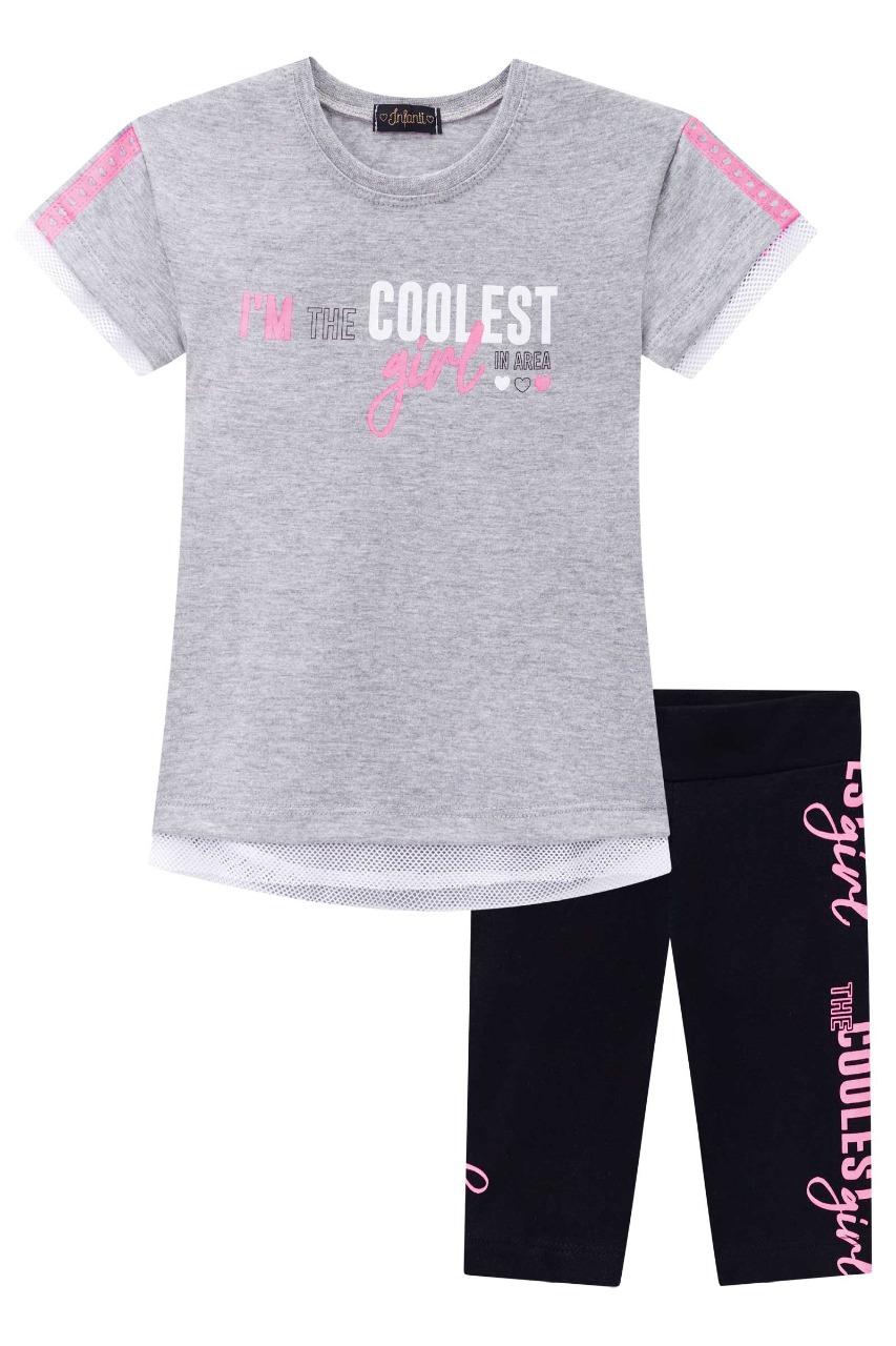 Conjunto infantil menina blusa manga curta e bermuda cliclista - Tam 8 a 12 anos