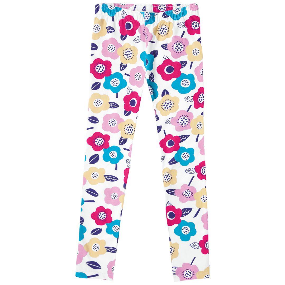 Conjunto Infantil menina blusa manga curta e legging estampada - Tam 4 a 8 anos
