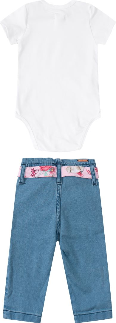 Conjunto Infantil menina body manga curta e calça jeans  Tam 1 a 3 anos