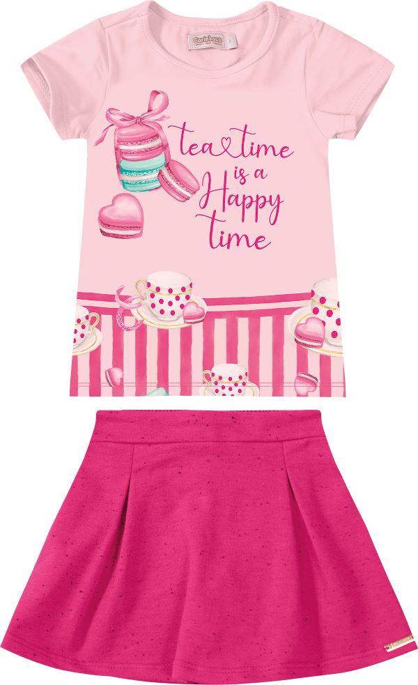 Conjunto Infantil menina em algodão - Tam 4 a 8 anos