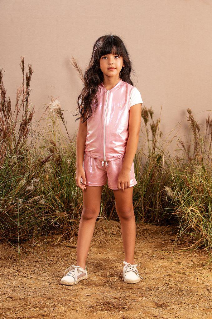 Conjunto Infantil menina em cirrê metalizado rosê - Tam 6 a 14 anos