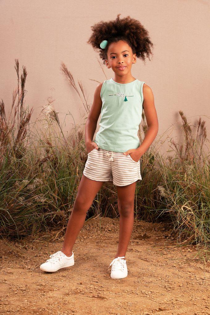 Conjunto Infantil menina em cotton com short moletom - Tam 6 a 14 anos