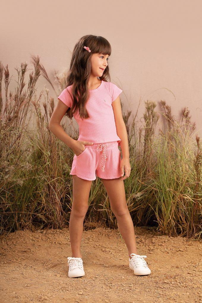 Conjunto Infantil menina em malha canelada - Tam 2 a 14 anos