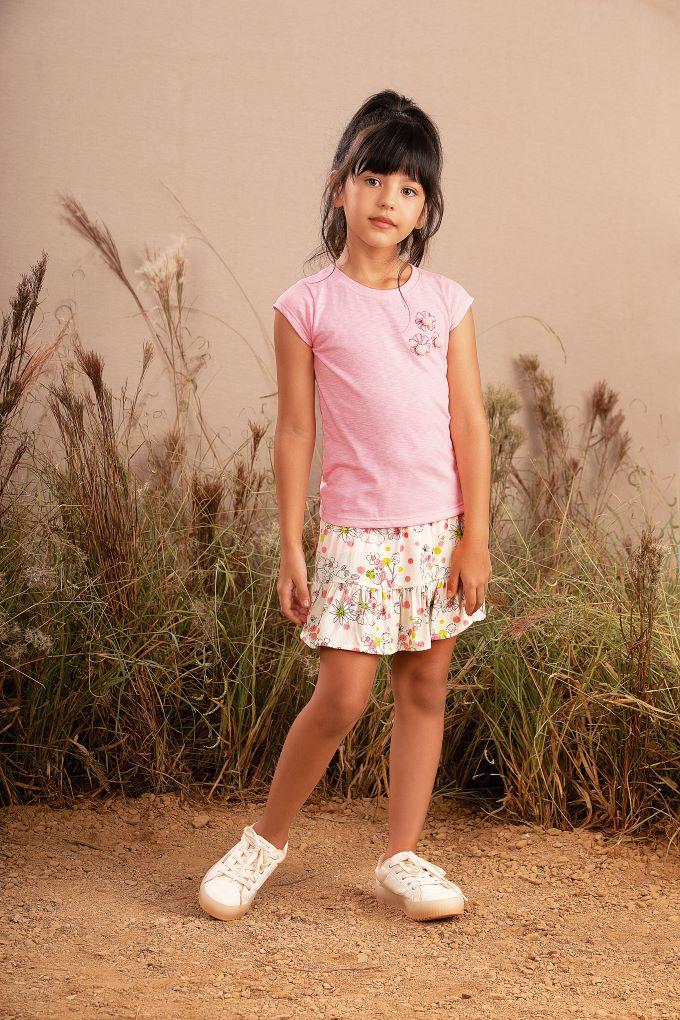 Conjunto Infantil menina em malha flamê e viscose floral- Tam 4 a 14 anos