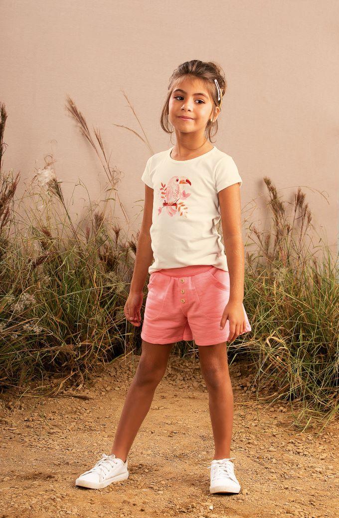 Conjunto Infantil menina off White e salmão em cotton- Tam 8 a 14 anos