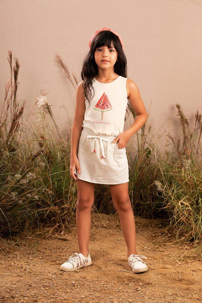 Conjunto Infantil menina off white em algodão - Tam 4 a 10 anos