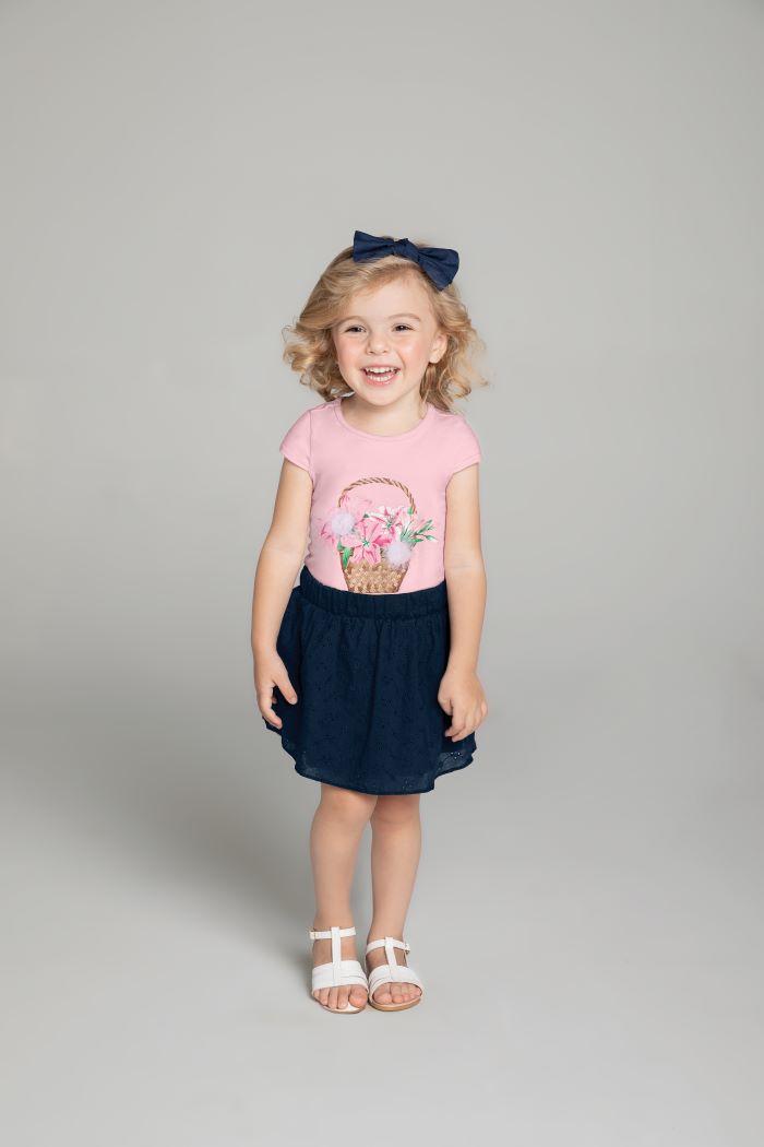 Conjunto Infantil menina rosa e saia em laise - Tam 4 a 8 anos