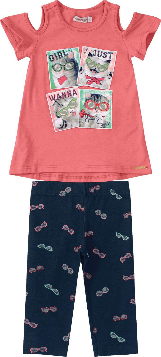 Conjunto Infantil menina salmão em algodão - Tam 2 a 6 anos