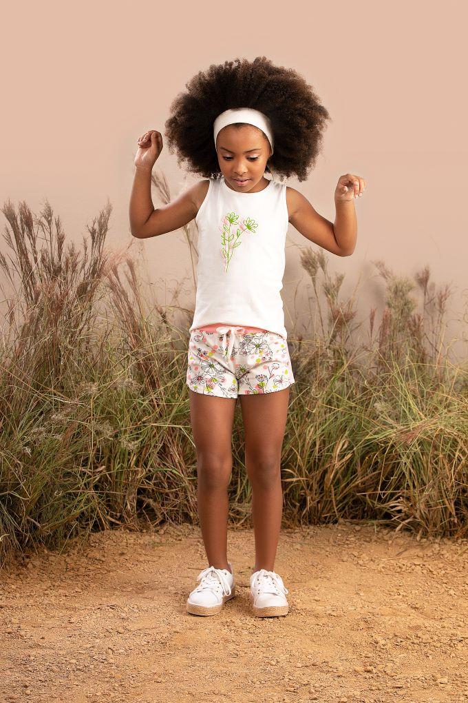Conjunto infantil menina short em cotton estampado - Tam 4 a 10 anos