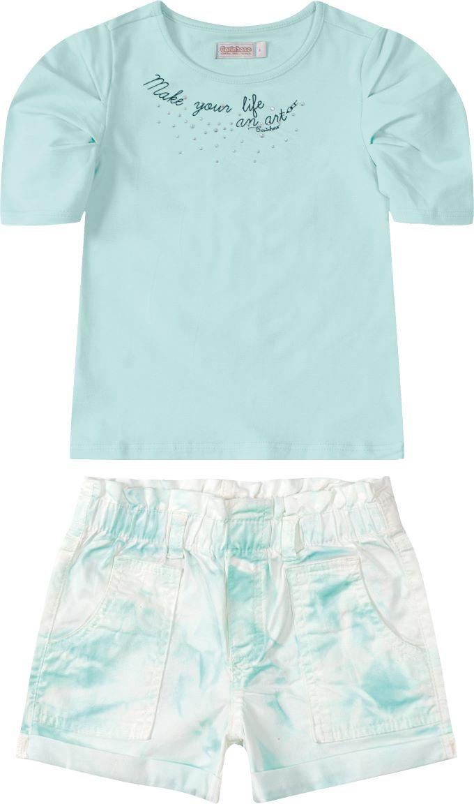 Conjunto infantil menina verde em algodão  Tam 8 a 12 anos