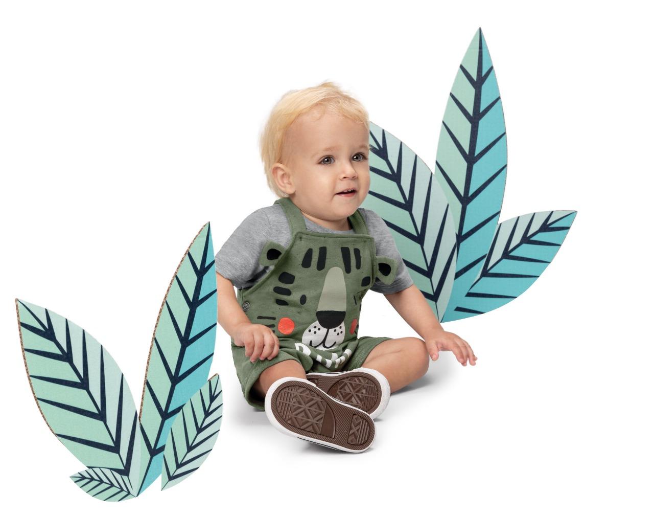 Conjunto infantil menino blusa manga curta e jardineira Zig Zig ZAA- Tam 1 a 3 anos
